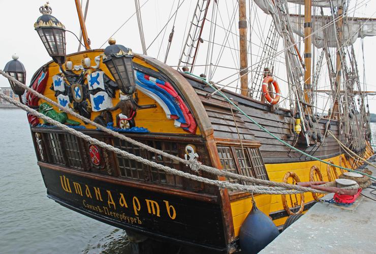 The Shtandart moored at Woolwich. Photo: David Graham
