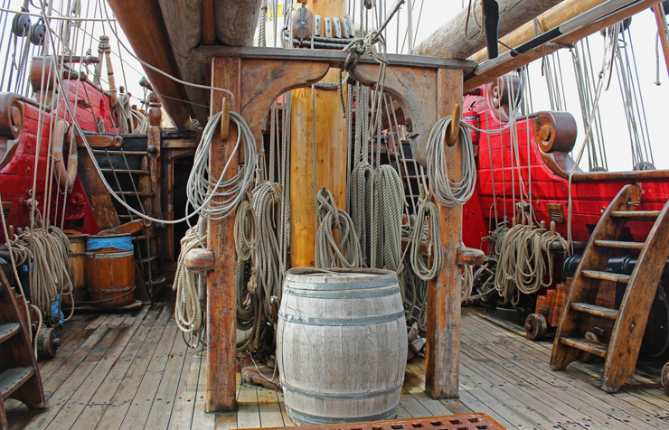 The Shtandart's upper gun deck with working cannons. Photo: David Graham