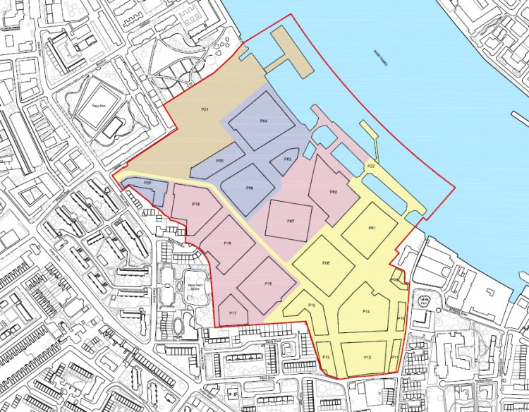 Phasing of the project: phase one shown in yellow, phase two in pink and phase three in blue. The developer proposes to include the Safeguarded Wharf (brown) in phase two.